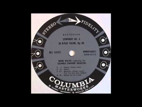 Beethoven, Symphony No  4 In B flat Major, Op  60 , Bruno Walter