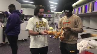 Custom cleat delivery to LSU WR #1 Ja'Marr Chase in LSU locker room