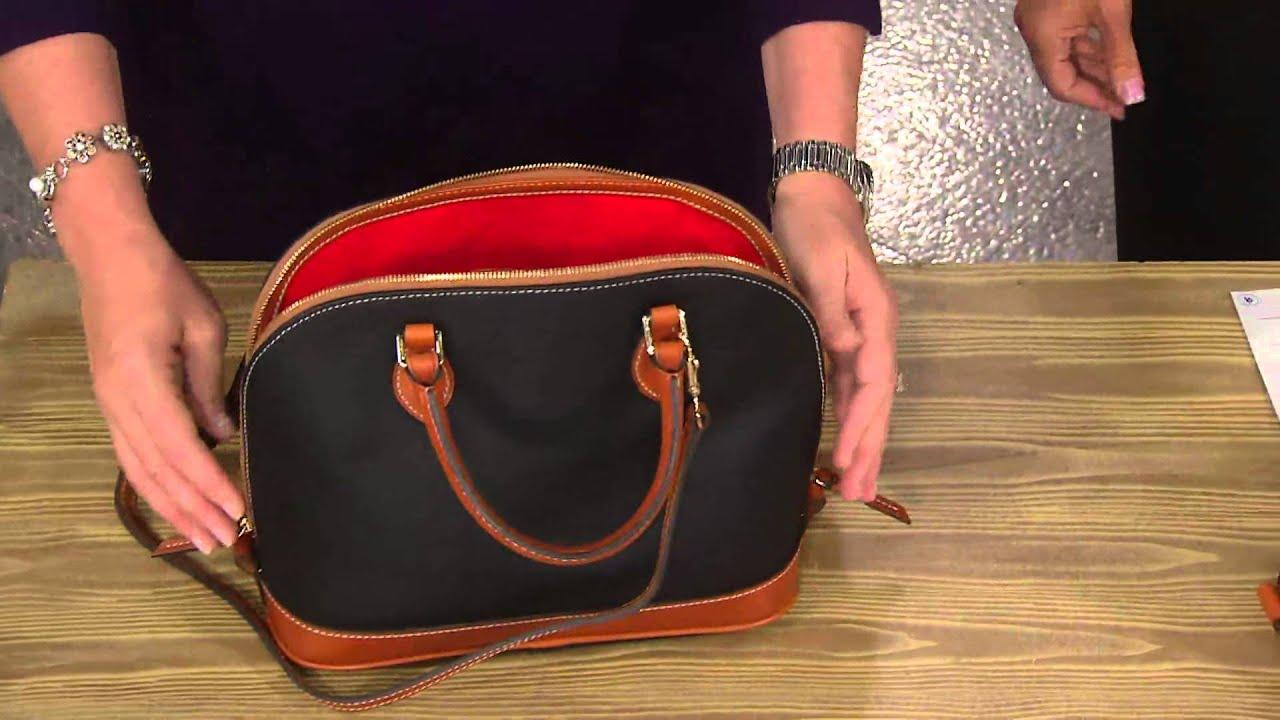 Dooney Bourke Pebble Leather Zip Satchel With Lisa Robertson