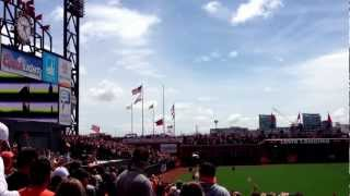 2012 San Francisco Giants World Series Championship Flag raising on Opening Day 2013