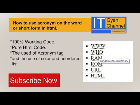How To Use Acronym On The Word Or Short Form In Html