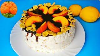 Торт Блаженство без выпечки без духовки Десерт из творога с персиками желейный Пальчики оближешь