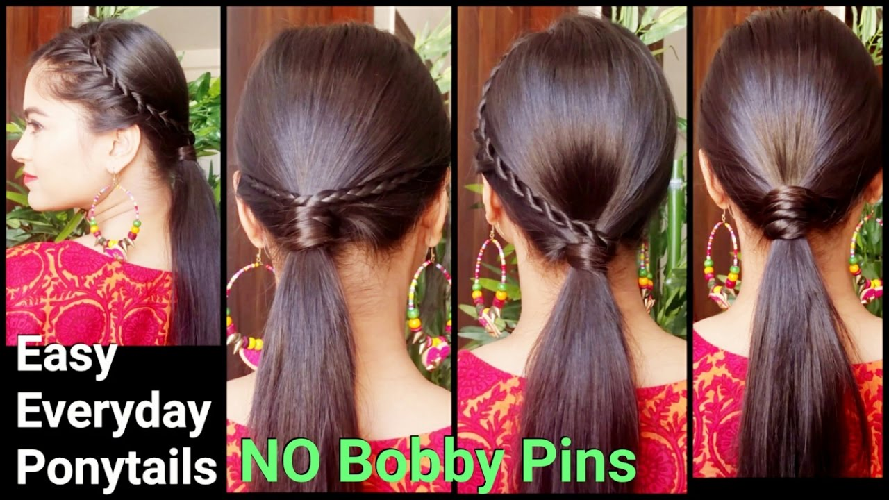 3 easy everyday ponytail hairstyles for medium to long hair for diwali//  indian hairstyles