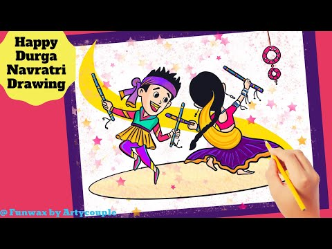 How to Draw Durga Navratri Dandiya Garba dance drawing | Easy Navratri dandiya Drawing