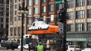 Sikorsky H-34 (S-58JT) Aerial Crane Helicopter Lift – Michigan Avenue – Chicago Illinois