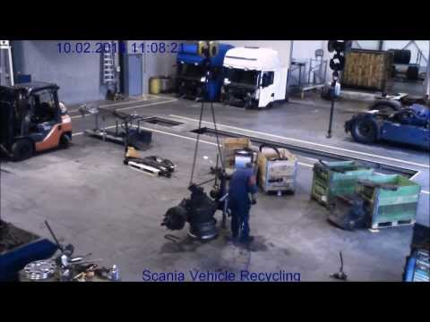 Scania Vehicle Recycling - Chassis dismantling in 10 minutes