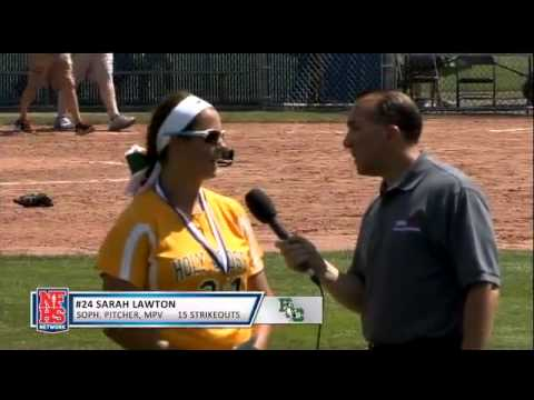 Holy Cross' Sarah Lawton post-game interview after 15 strikeout state title