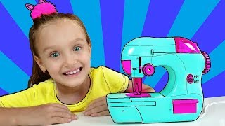 Nastya and Dad playing with Toy Sewing machine | Making Princess Dress