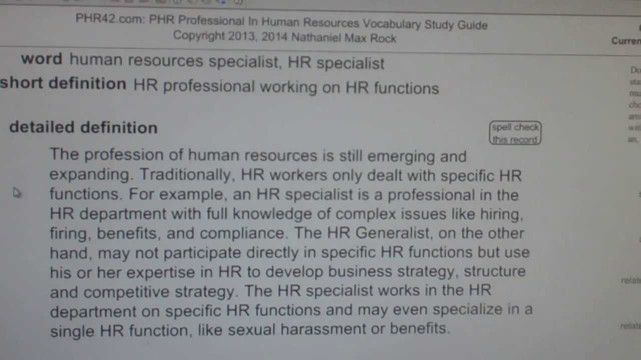 human resources specialist, HR specialist PHR SPHR Human