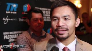 Repeat youtube video Manny Pacquiao laughs at Floyd Mayweather wanting to fight Conor McGregor
