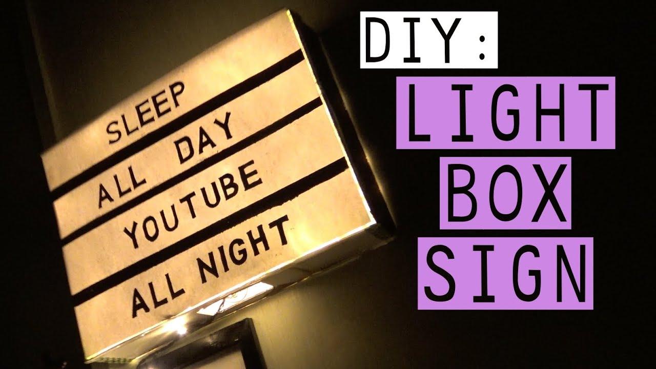 DIY LIGHT BOX SIGN! TUMBLR INSPIRED! 2016 | thilduhh - YouTube