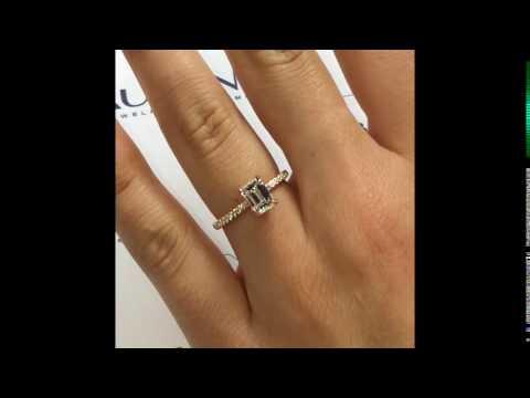 1 carat Emerald Cut Diamond Engagement Ring in Rose Gold