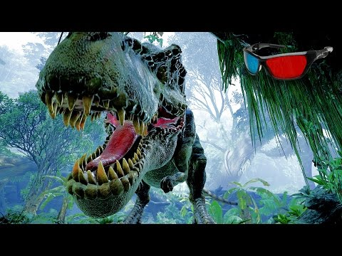 Dinosaur 3D Anaglyph 3D Jurassic Park Simulation [HD 3D RED/