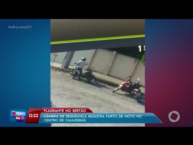 Câmeras de segurança registram furto de moto no centro de Cajazeiras- O Povo na TV