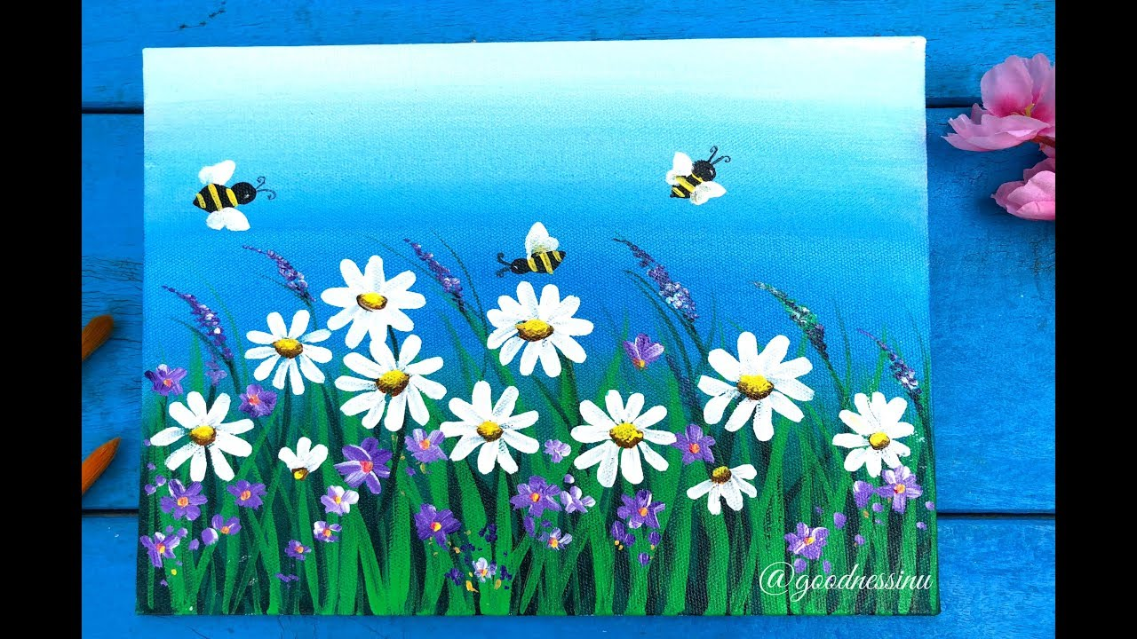 quick  u0026 easy daisy flower garden painting for beginners step by step