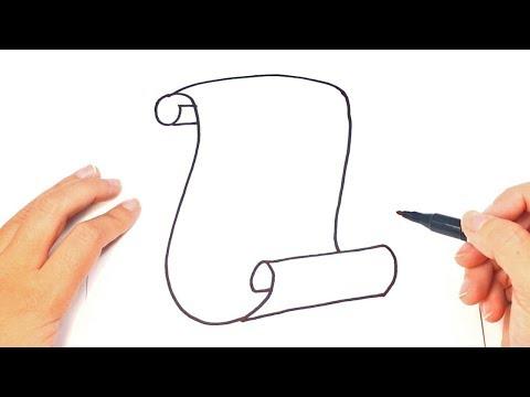 Como dibujar un Pergamino paso a paso | Dibujo fácil de Pergamino