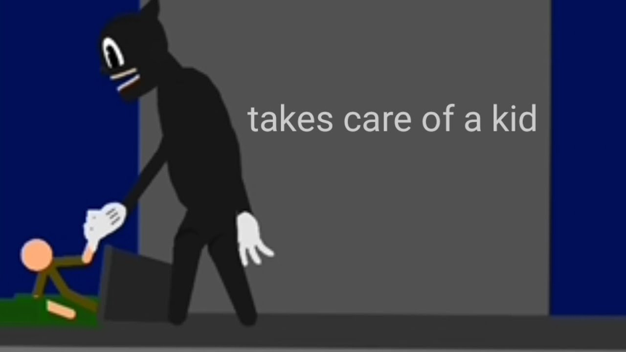 Cartoon Cat takes care of a kid - Animation Error Version
