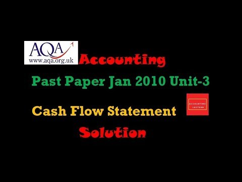 Cash Flow Statement AQA A Level Accounting Past Paper Jan 2010 U3
