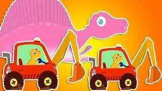Красный Экскаватор на планете динозавров. Строительная машина - мультик. Добрый динозавр на работе