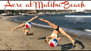 Sam Vs. Teagan Acro challenge on Malibu Beach