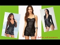 Women Black Leather Rompers