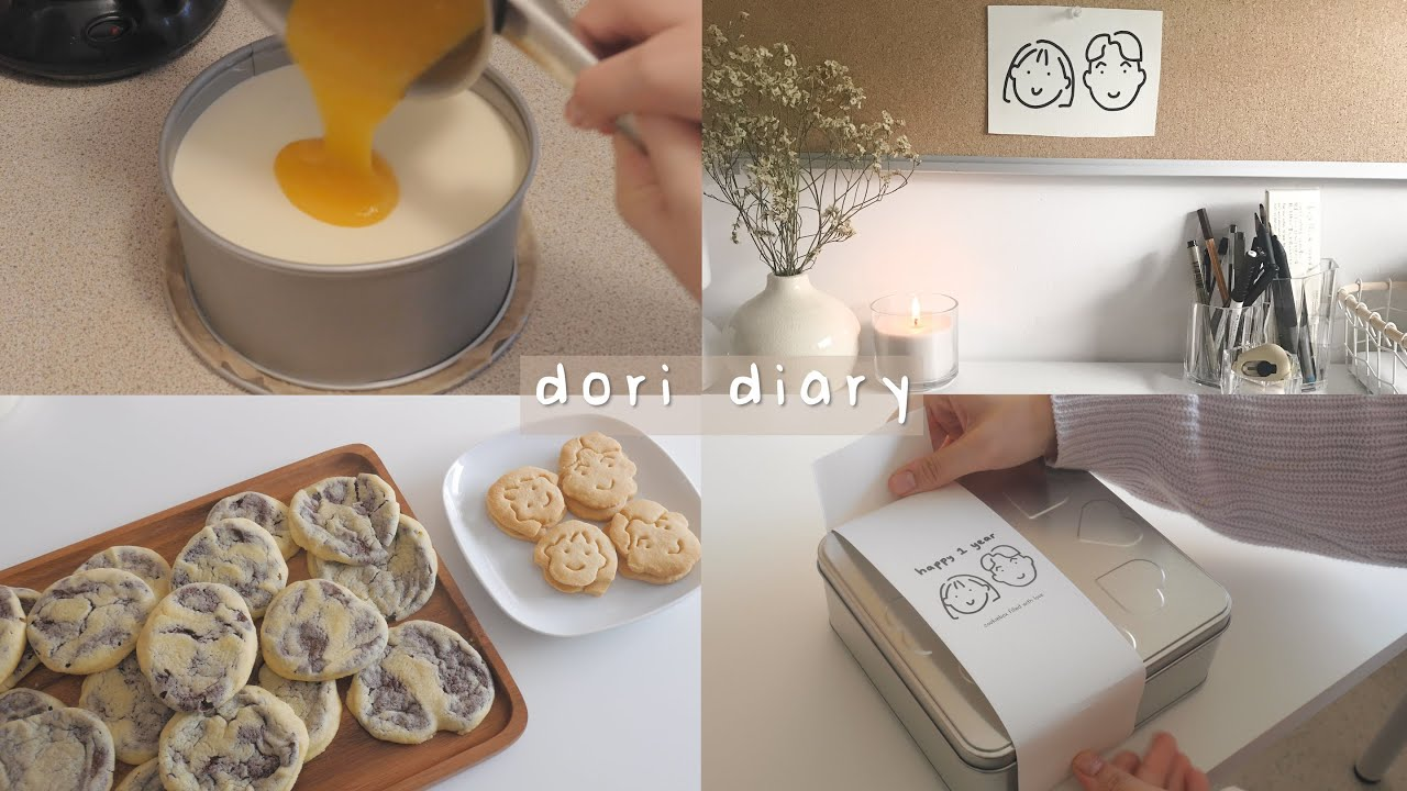 vlog ∣ new desk setup, making anniversary cookies 。
