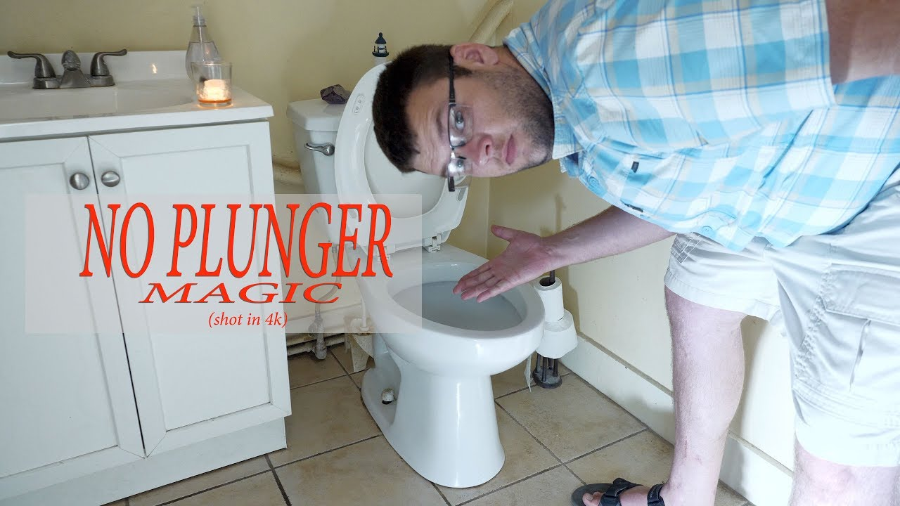 How to unclog a toilet with NO PLUNGER - YouTube