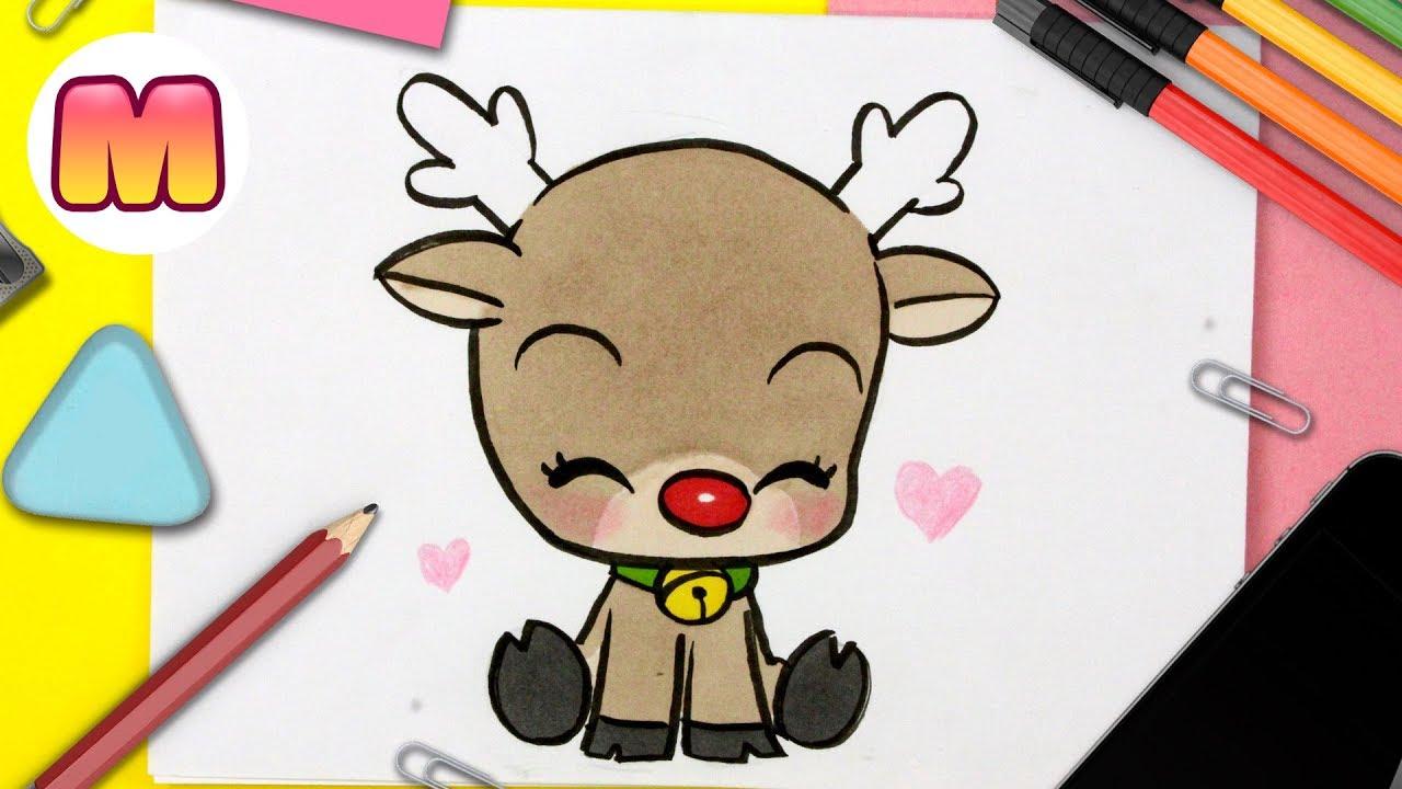 Como Dibujar Un Reno De Navidad Kawaii Dibujos De Navidad