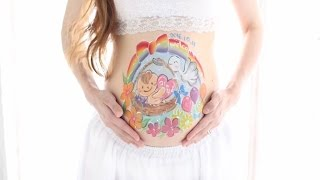 Pregnant Belly Painting for our Son (Oct. 14th 2016, 31 weeks 4 days) 授かりアート ベリーペイント (息子)