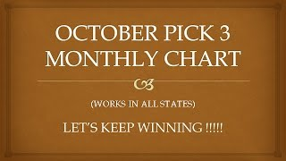 OCTOBER MONTHLY PICK 3 PREDICTIONS