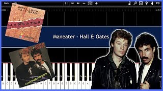 Maneater - Hall & Oates (Synthesia) [Tutorial] [Instrumental Video] [Download]