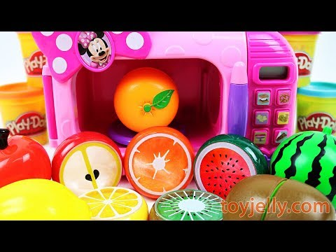 Minnie Mouse Cooking Microwave Toy Learn Colors Play Doh Fruits Strawberry Velcro Cutting Baby Songs