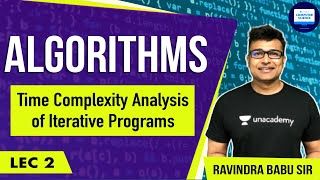 Algorithms lecture 2 -- Time complexity Analysis of iterative programs