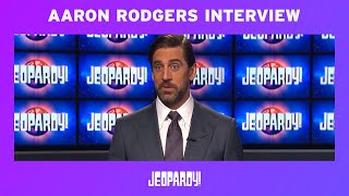 Aaron Rodgers: Full Jeopardy! Guest Host Exclusive Interview | JEOPARDY!