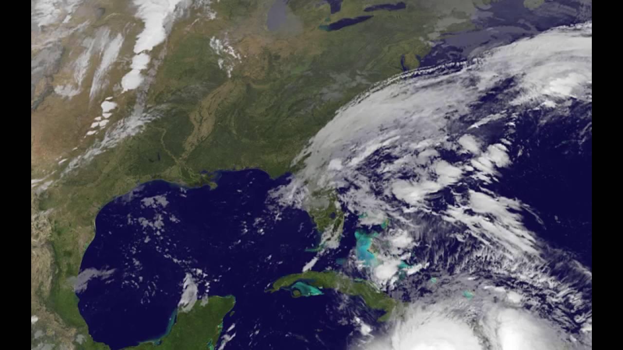 satellite animation shows hurricane matthew moving through