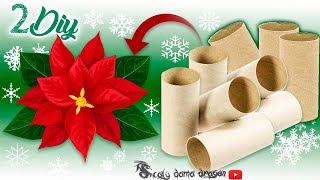 2 Diseños de FLORES NAVIDEÑAS hechas con TUBOS DE CARTÓN / RECICLAJE creativo