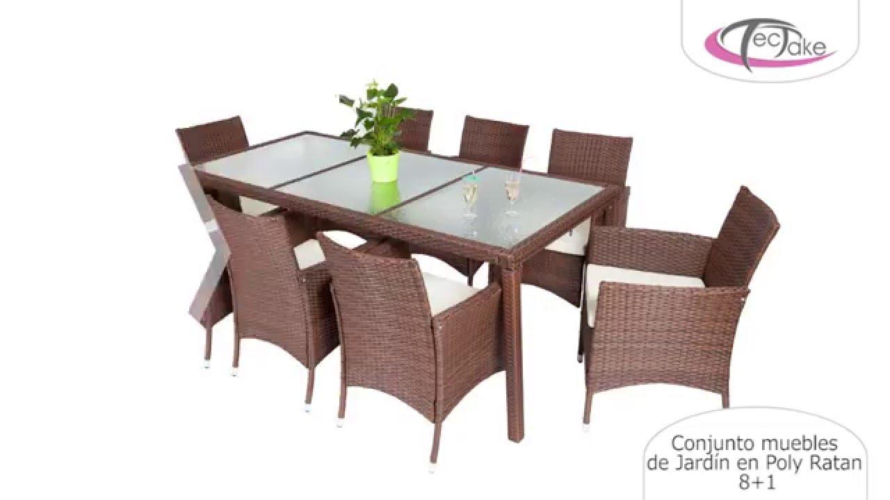 TecTake - Conjunto muebles de Jardín en Poly Ratan 8+1 - YouTube