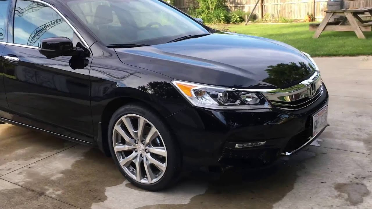 Black Honda Accord Rims >> 2016 Honda Accord Ex-L V6 Before HFP Wheels And After - YouTube