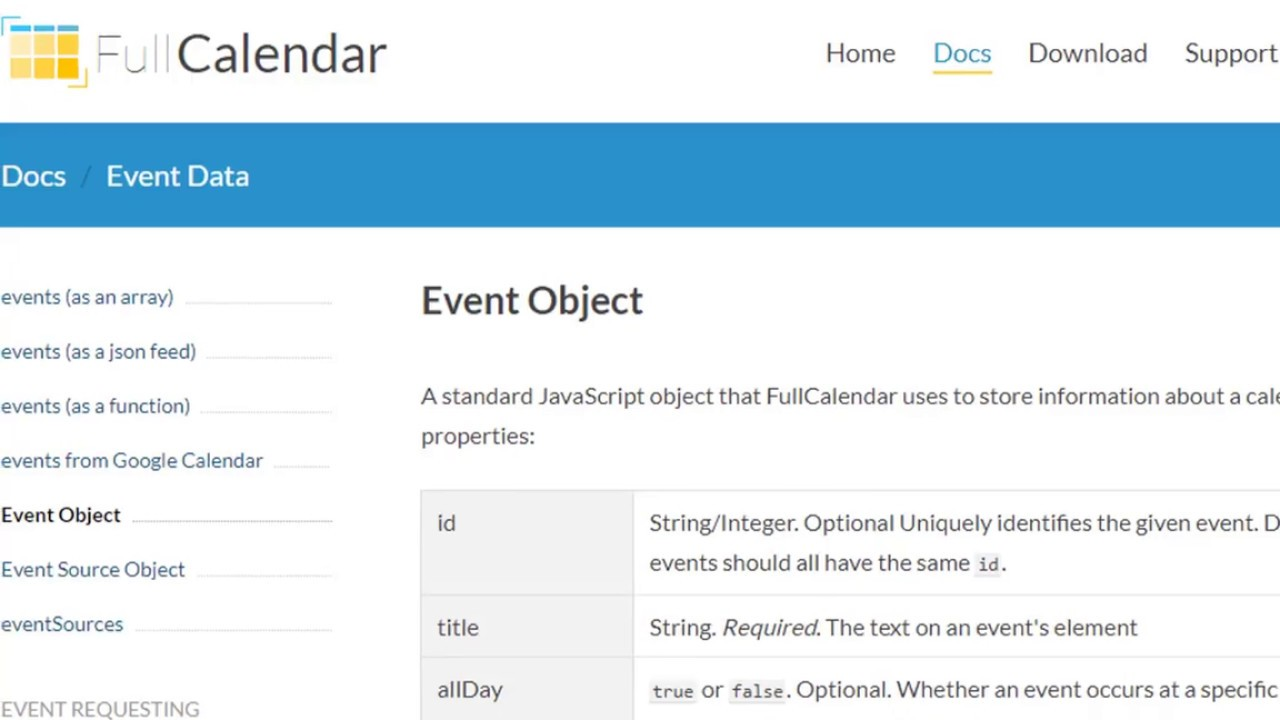 Fullcalendar Get Events Array
