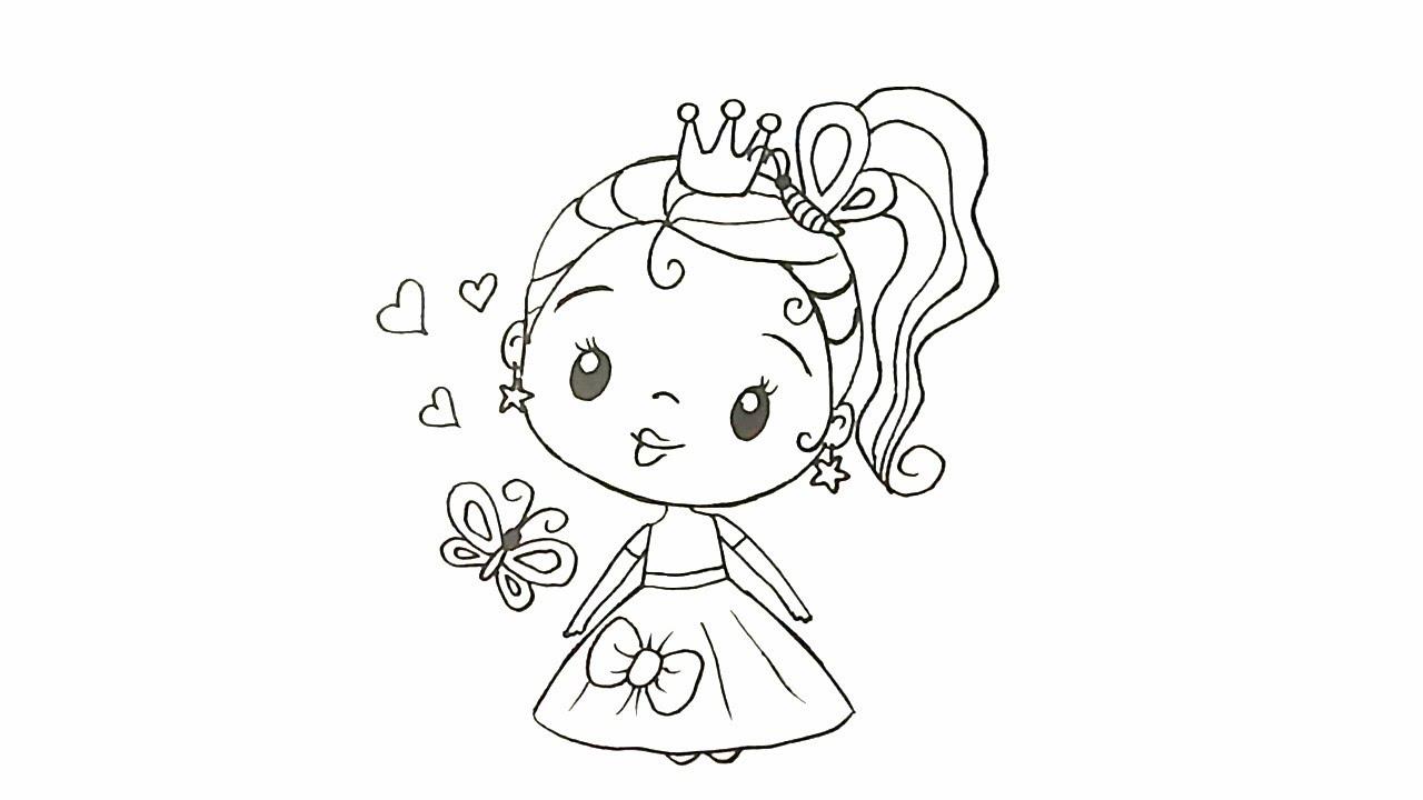 Boyama Yapmak Için Resim çiziyorum Küçük Prenses Kolay çizim