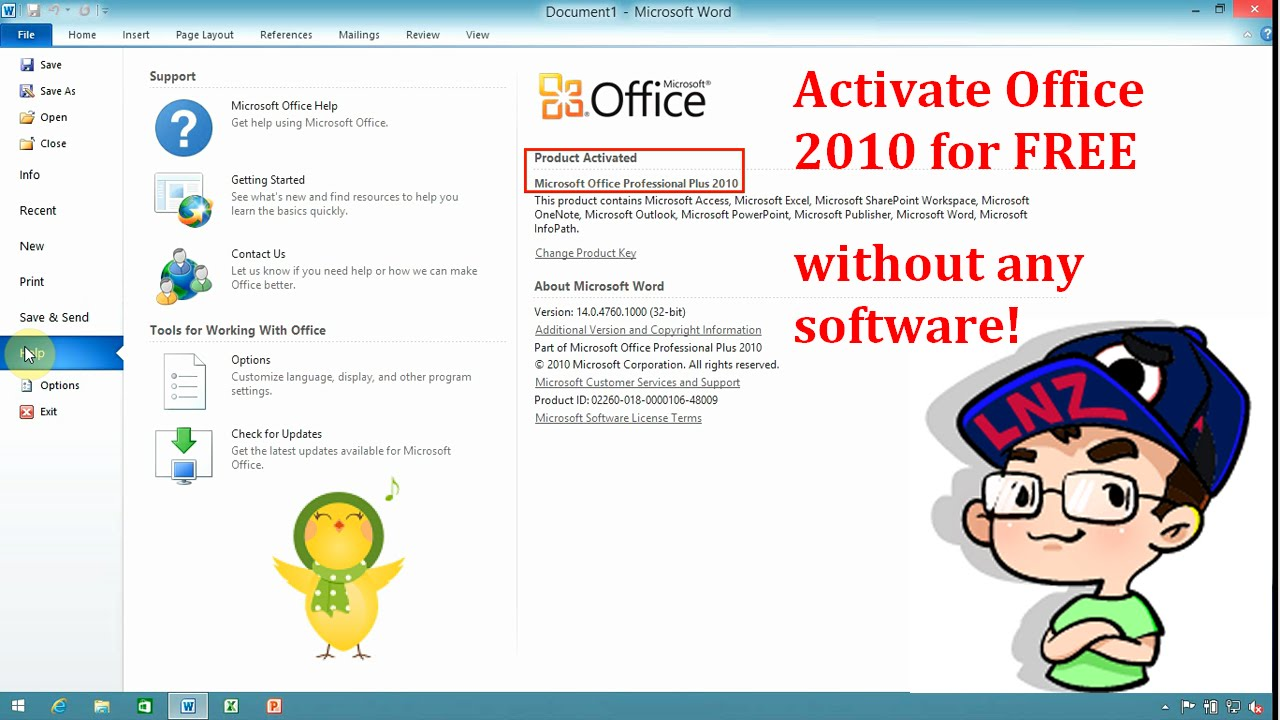 how to activate microsoft office 2010 for free