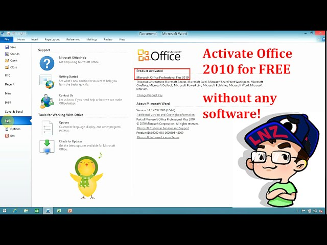 register microsoft office 2010 by phone