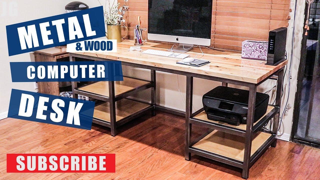 Metal  Wood Computer Desk Build  JIMBOS GARAGE  YouTube