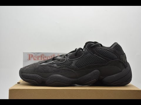 2b2d729ecca49 Fake vs Real yeezy 500 black Comparison - YouTube