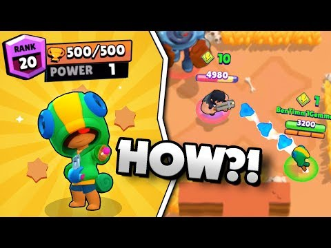 LEVEL 1 LEON GETS 500 TROPHIES IN BRAWL STARS! LEVEL 1 POWER 500 TROPHY GAMEPLAY!
