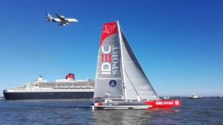 Airbus A380 waving during departure of The Bridge race at Saint-Nazaire yesterday with Queen Mary II