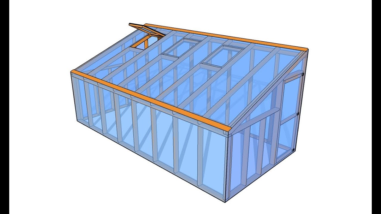 Lean to greenhouse plans youtube for Greenhouse design plans