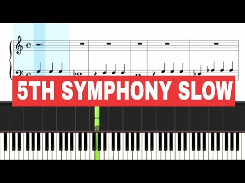 5th Symphony Beethoven - Piano Sheet Music Slow BEGINNER
