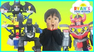 Batman Superman vs Power Rangers SuperHeroes Imaginext Toys Batmobile Egg Surprise Kids Video