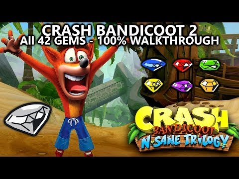 Crash Bandicoot 2 (N.Sane Trilogy) - 100% Full Game Walkthrough - All 42 Gems (Colored & Clear Gems)